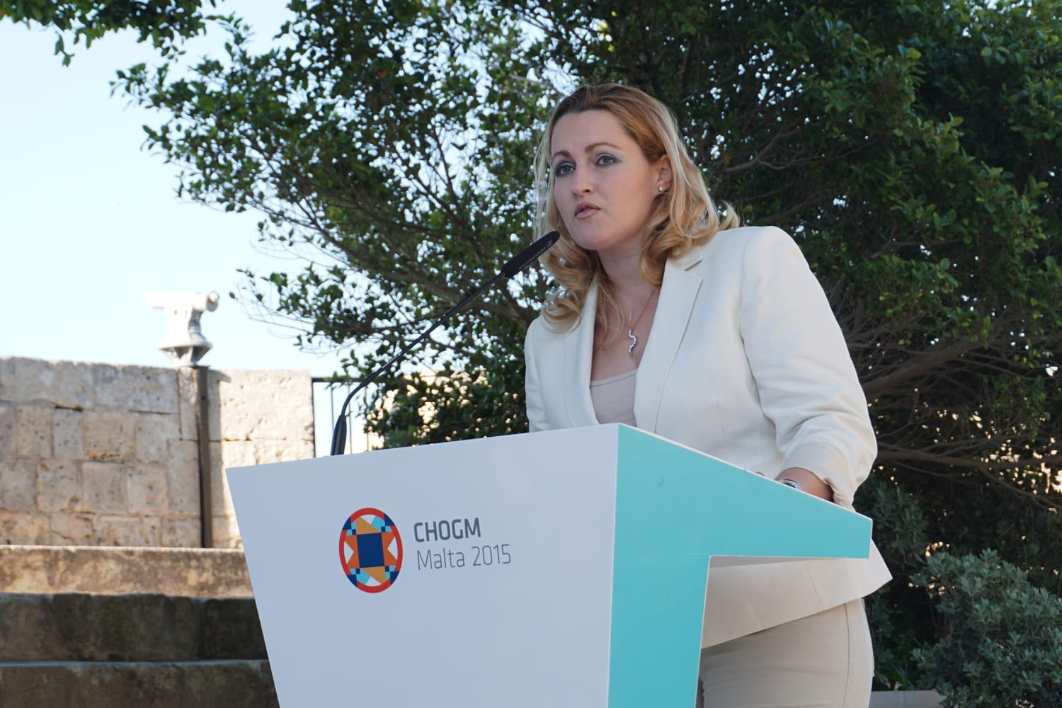 Dr Claire Baluci speaks at the Commonwealth Peoples Forum 2015 launch in Malta