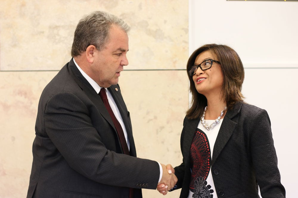 Speaker Anglu Farrugia and Ms Myn Garcia at the Parliament of Malta